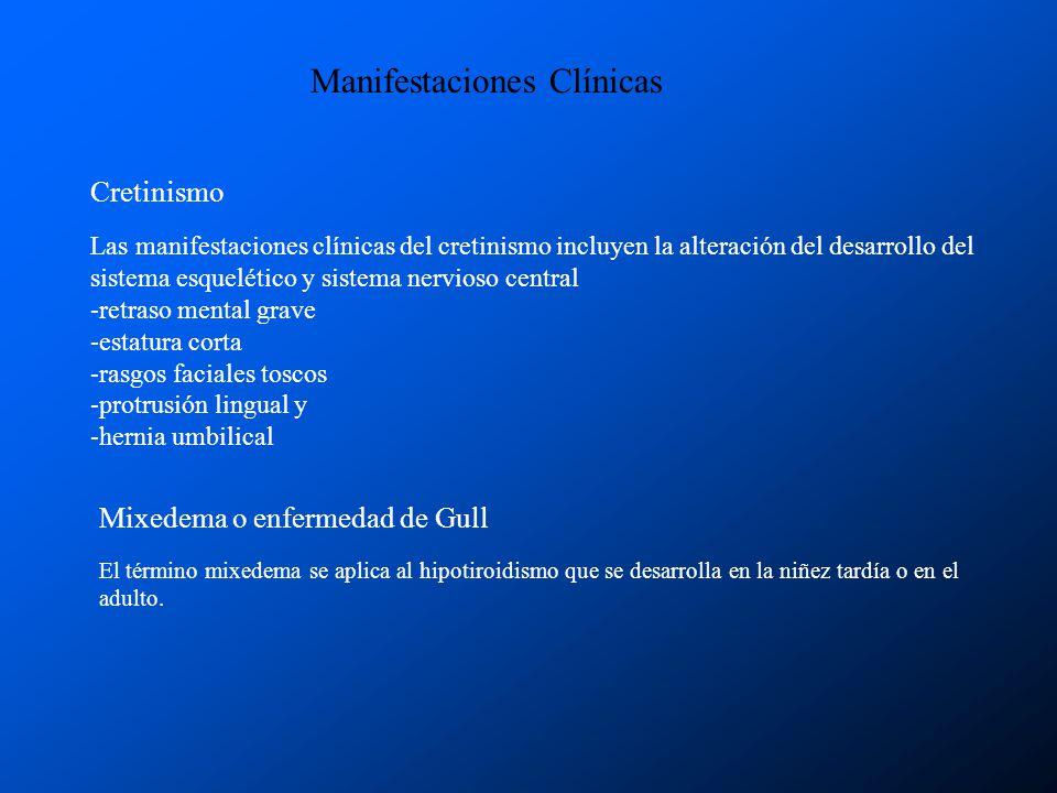 Manifestaciones Clínicas Cretinismo Las manifestaciones clínicas del cretinismo incluyen la alteración del desarrollo del sistema esquelético y sistem