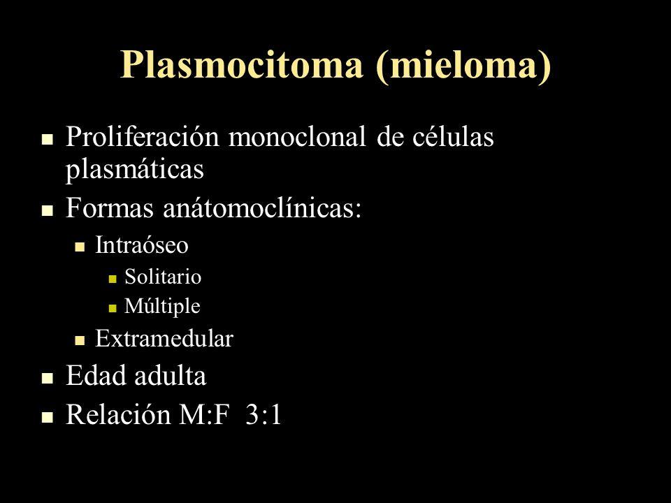 Plasmocitoma (mieloma) Proliferación monoclonal de células plasmáticas Proliferación monoclonal de células plasmáticas Formas anátomoclínicas: Formas anátomoclínicas: Intraóseo Intraóseo Solitario Solitario Múltiple Múltiple Extramedular Extramedular Edad adulta Edad adulta Relación M:F 3:1 Relación M:F 3:1