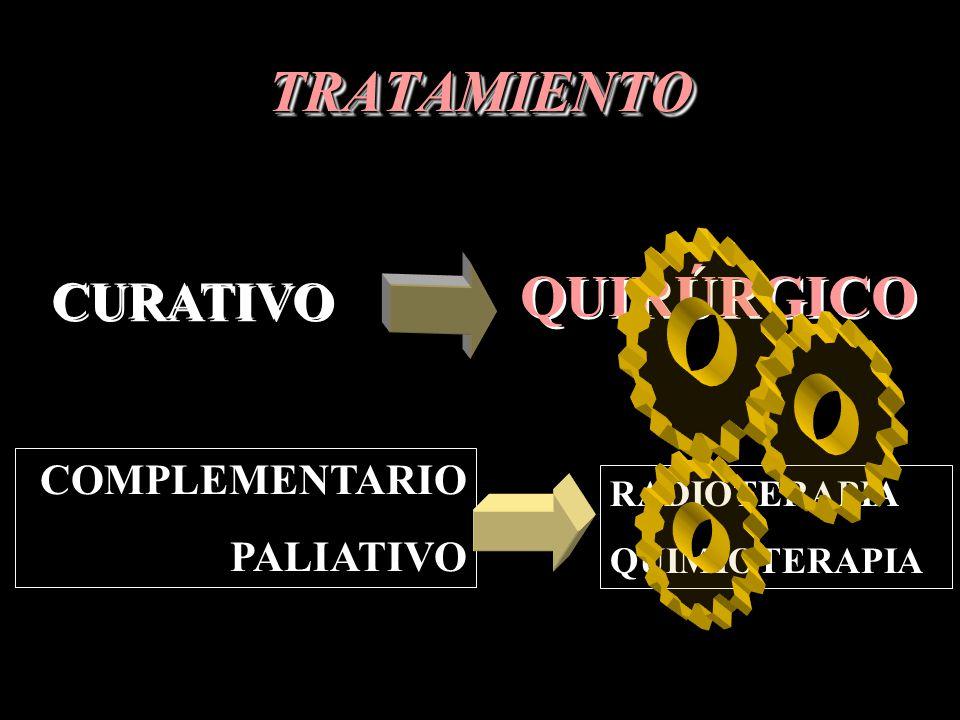 TRATAMIENTOTRATAMIENTO CURATIVO QUIRÚRGICO COMPLEMENTARIO PALIATIVO RADIOTERAPIA QUIMIOTERAPIA