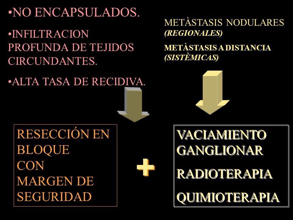 NO ENCAPSULADOS.INFILTRACION PROFUNDA DE TEJIDOS CIRCUNDANTES.