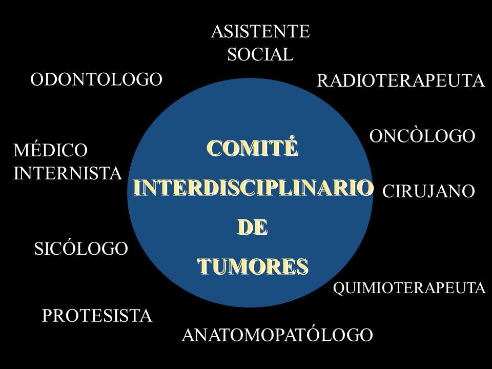 ODONTOLOGO CIRUJANO ANATOMOPATÓLOGO MÉDICO INTERNISTA RADIOTERAPEUTA QUIMIOTERAPEUTA PROTESISTA COMITÉ INTERDISCIPLINARIO DE TUMORES COMITÉ INTERDISCIPLINARIO DE TUMORES ASISTENTE SOCIAL SICÓLOGO ONCÒLOGO