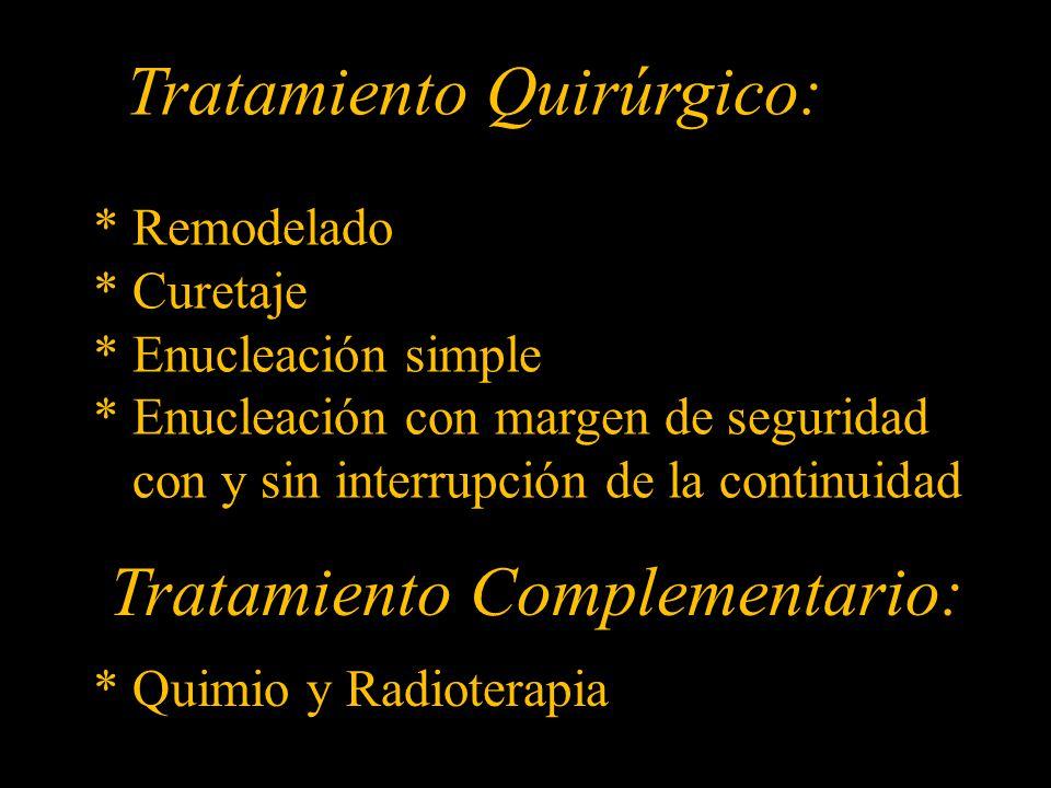 Tratamiento Quirúrgico: * Remodelado * Curetaje * Enucleación simple * Enucleación con margen de seguridad con y sin interrupción de la continuidad Tratamiento Complementario: * Quimio y Radioterapia