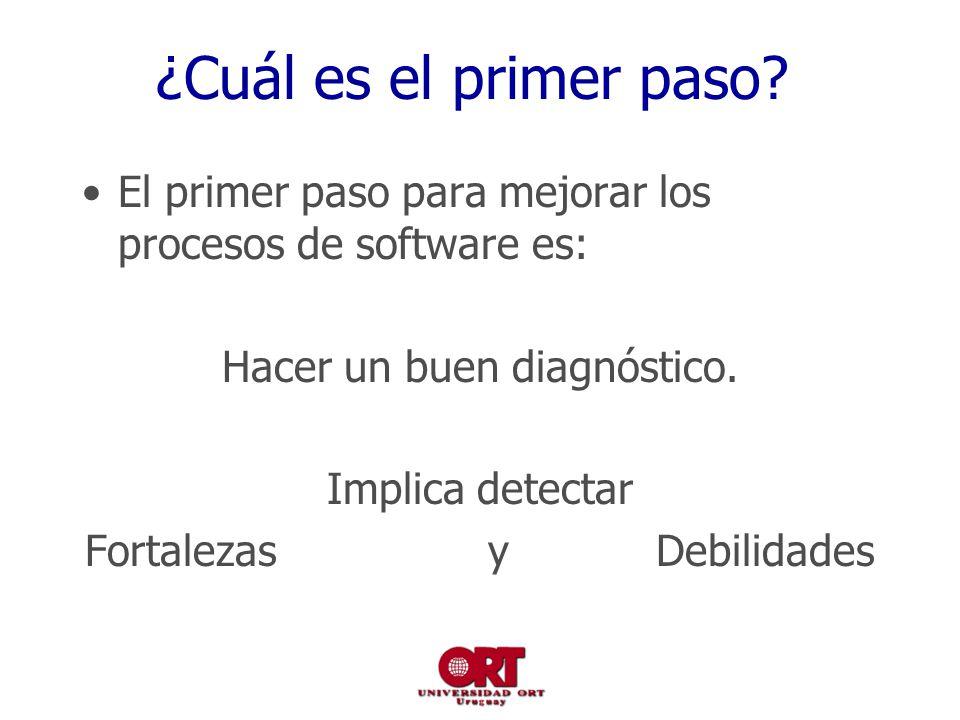 ¿Cuál es el primer paso? El primer paso para mejorar los procesos de software es: Hacer un buen diagnóstico. Implica detectar Fortalezas y Debilidades