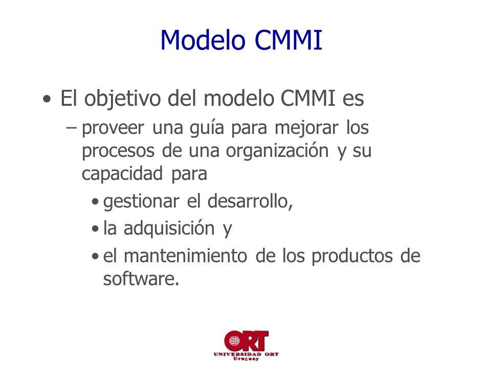 Modelo CMMI El objetivo del modelo CMMI es –proveer una guía para mejorar los procesos de una organización y su capacidad para gestionar el desarrollo, la adquisición y el mantenimiento de los productos de software.