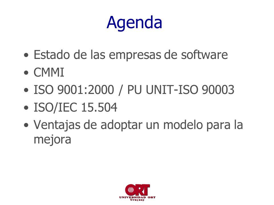 Agenda Estado de las empresas de software CMMI ISO 9001:2000 / PU UNIT-ISO 90003 ISO/IEC 15.504 Ventajas de adoptar un modelo para la mejora