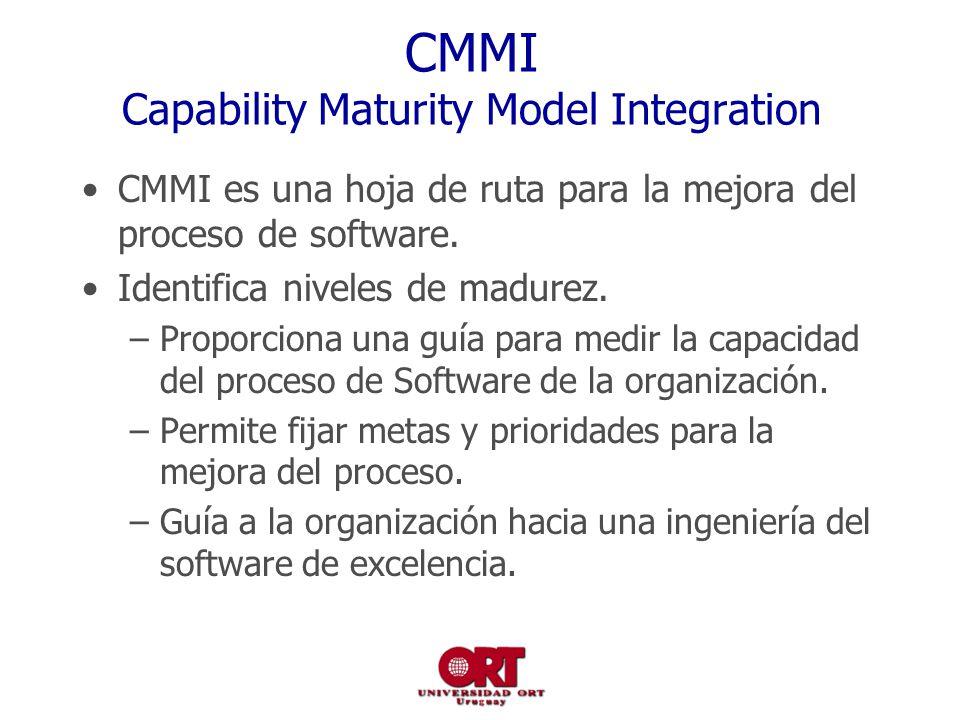 CMMI Capability Maturity Model Integration CMMI es una hoja de ruta para la mejora del proceso de software. Identifica niveles de madurez. –Proporcion