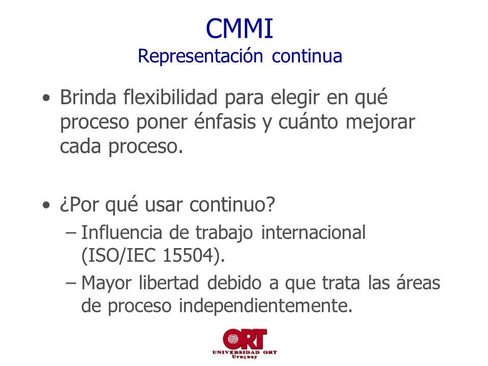 CMMI Representación continua Brinda flexibilidad para elegir en qué proceso poner énfasis y cuánto mejorar cada proceso. ¿Por qué usar continuo? –Infl