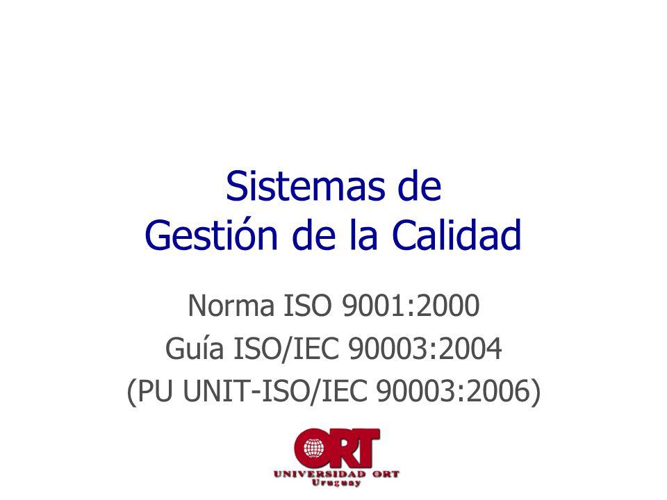 Sistemas de Gestión de la Calidad Norma ISO 9001:2000 Guía ISO/IEC 90003:2004 (PU UNIT-ISO/IEC 90003:2006)