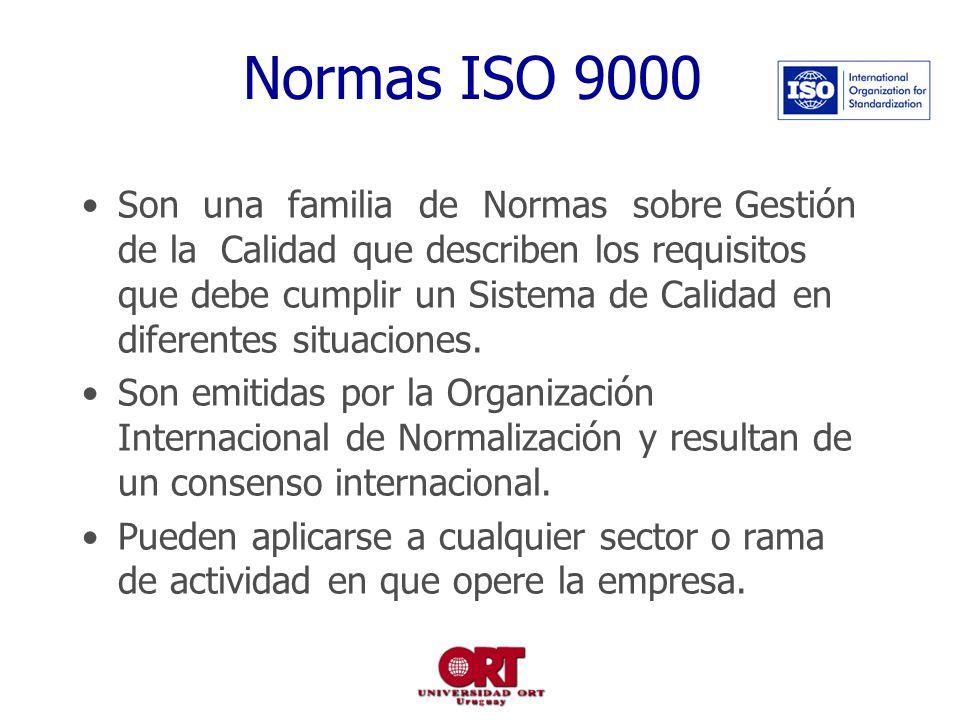 Normas ISO 9000 Son una familia de Normas sobre Gestión de la Calidad que describen los requisitos que debe cumplir un Sistema de Calidad en diferentes situaciones.