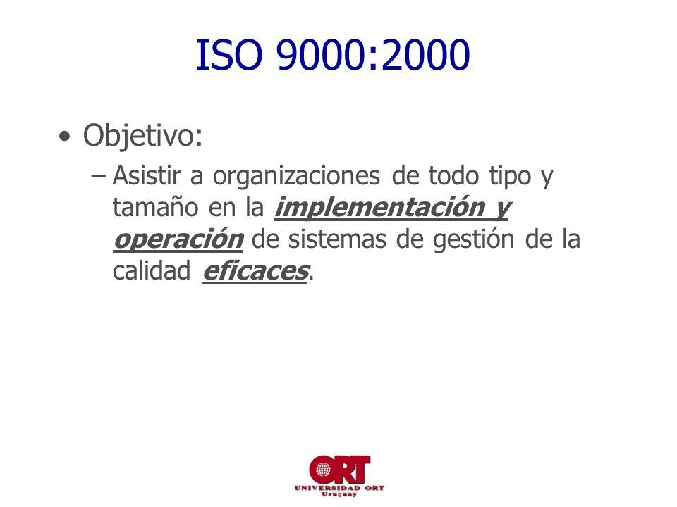 ISO 9000:2000 Objetivo: –Asistir a organizaciones de todo tipo y tamaño en la implementación y operación de sistemas de gestión de la calidad eficaces.