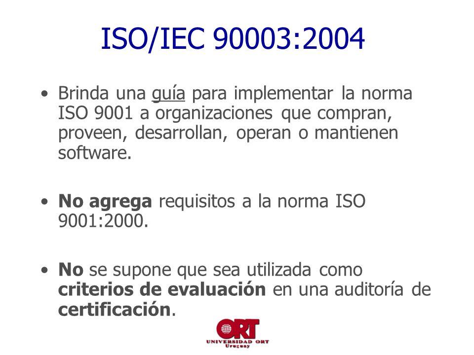 ISO/IEC 90003:2004 Brinda una guía para implementar la norma ISO 9001 a organizaciones que compran, proveen, desarrollan, operan o mantienen software.