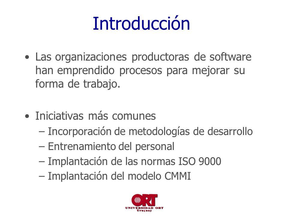 Introducción Las organizaciones productoras de software han emprendido procesos para mejorar su forma de trabajo. Iniciativas más comunes –Incorporaci