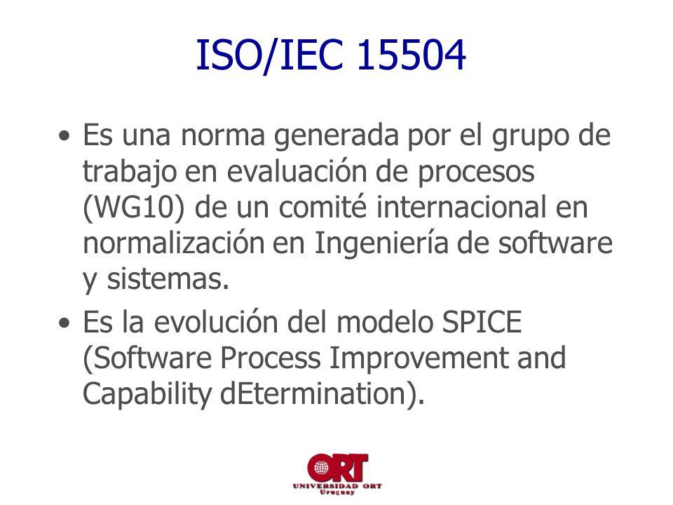 ISO/IEC 15504 Es una norma generada por el grupo de trabajo en evaluación de procesos (WG10) de un comité internacional en normalización en Ingeniería de software y sistemas.