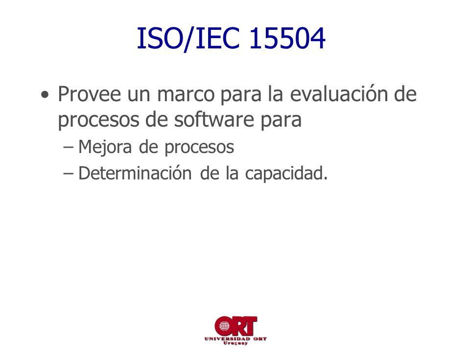 ISO/IEC 15504 Provee un marco para la evaluación de procesos de software para –Mejora de procesos –Determinación de la capacidad.
