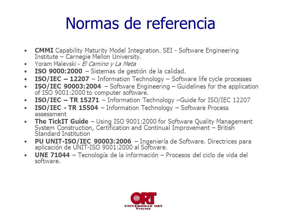 Normas de referencia CMMI Capability Maturity Model Integration.
