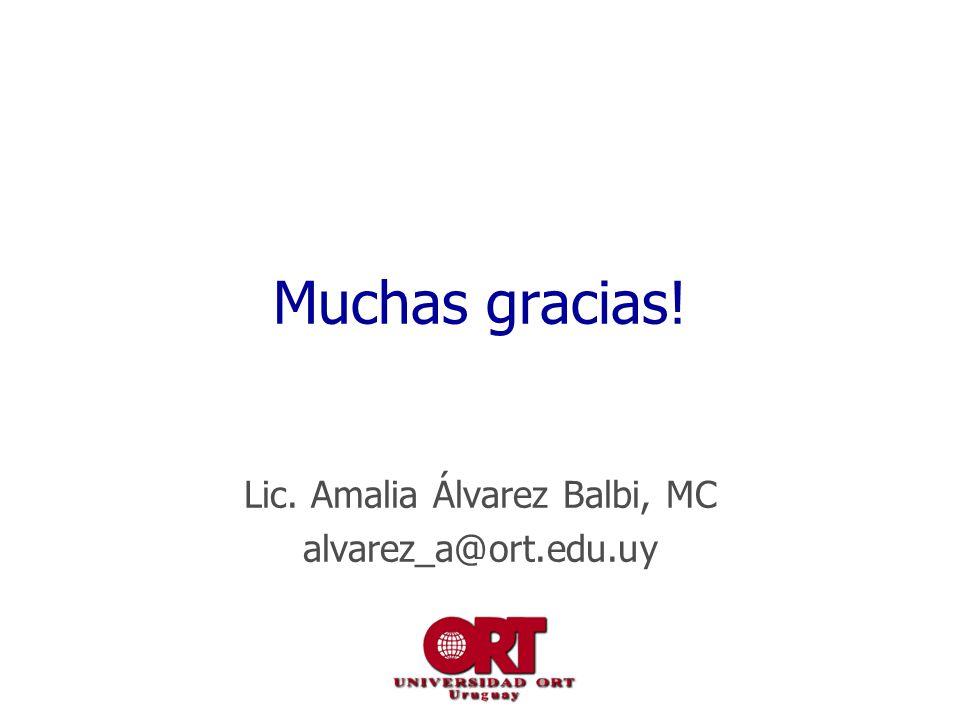 Muchas gracias! Lic. Amalia Álvarez Balbi, MC alvarez_a@ort.edu.uy