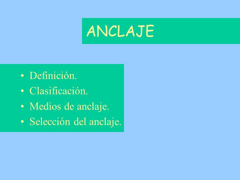 Definición. Clasificación. Medios de anclaje. Selección del anclaje.