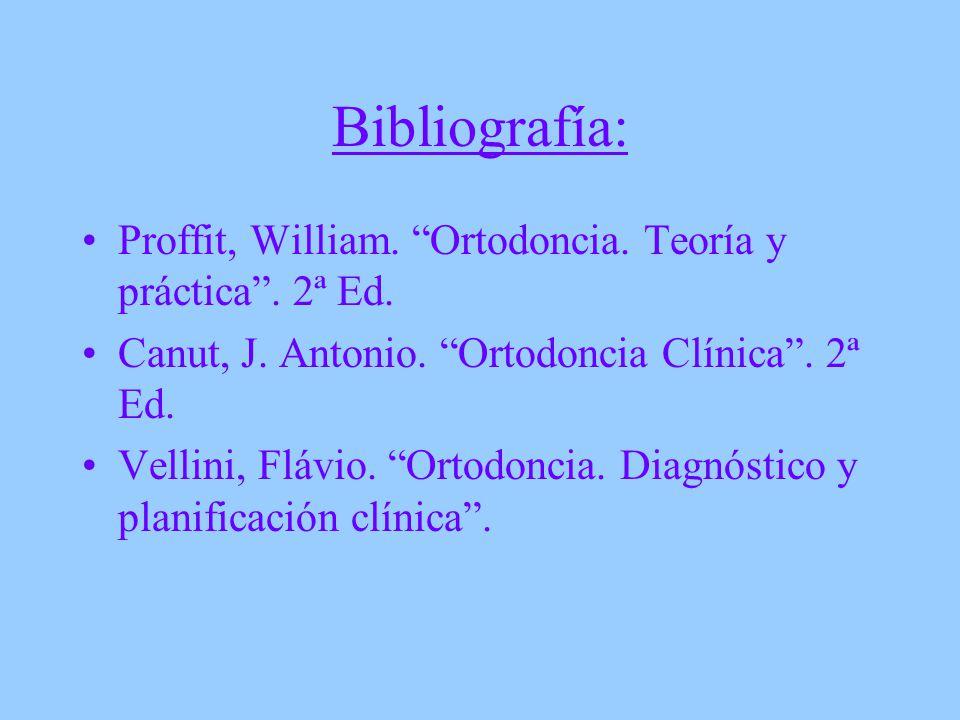 Bibliografía: Proffit, William. Ortodoncia. Teoría y práctica. 2ª Ed. Canut, J. Antonio. Ortodoncia Clínica. 2ª Ed. Vellini, Flávio. Ortodoncia. Diagn