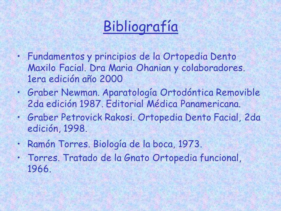Bibliografía Fundamentos y principios de la Ortopedia Dento Maxilo Facial. Dra Maria Ohanian y colaboradores. 1era edición año 2000 Graber Newman. Apa