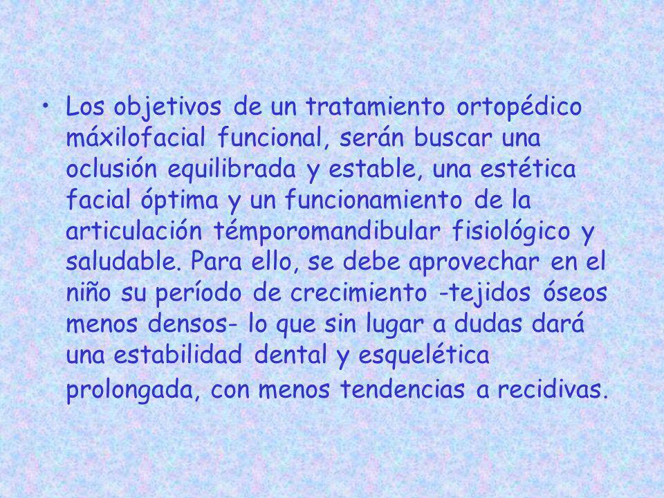 Los objetivos de un tratamiento ortopédico máxilofacial funcional, serán buscar una oclusión equilibrada y estable, una estética facial óptima y un fu