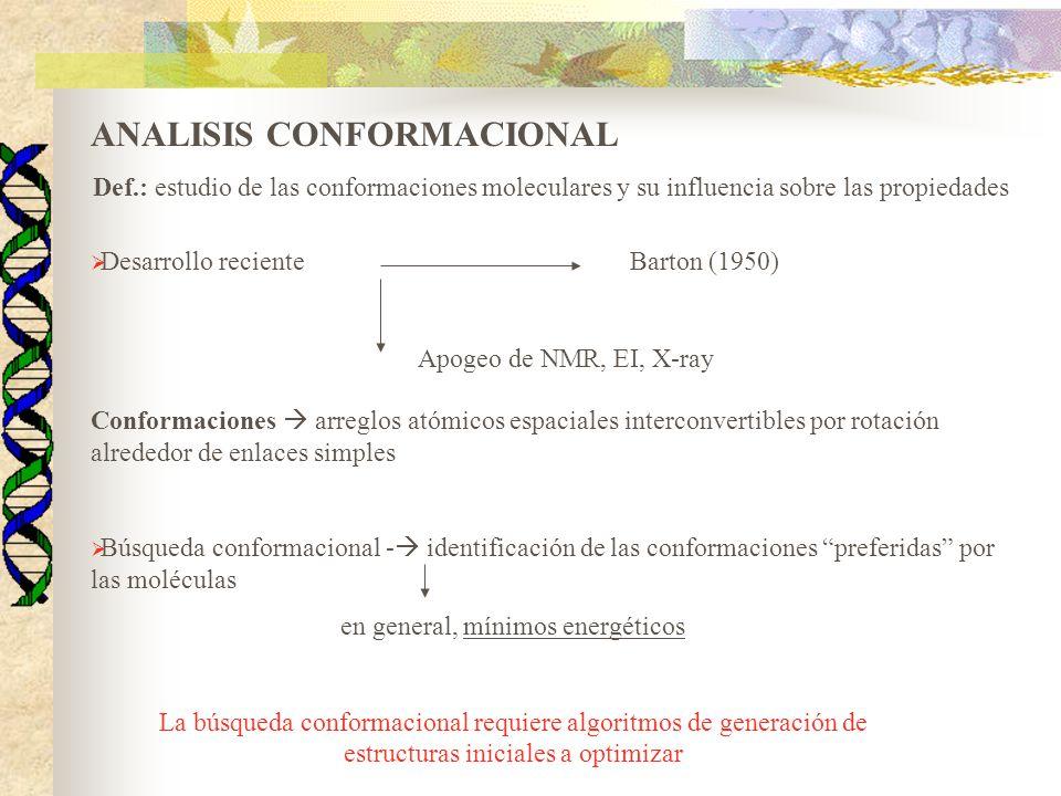 ANALISIS CONFORMACIONAL Def.: estudio de las conformaciones moleculares y su influencia sobre las propiedades Desarrollo recienteBarton (1950) Apogeo