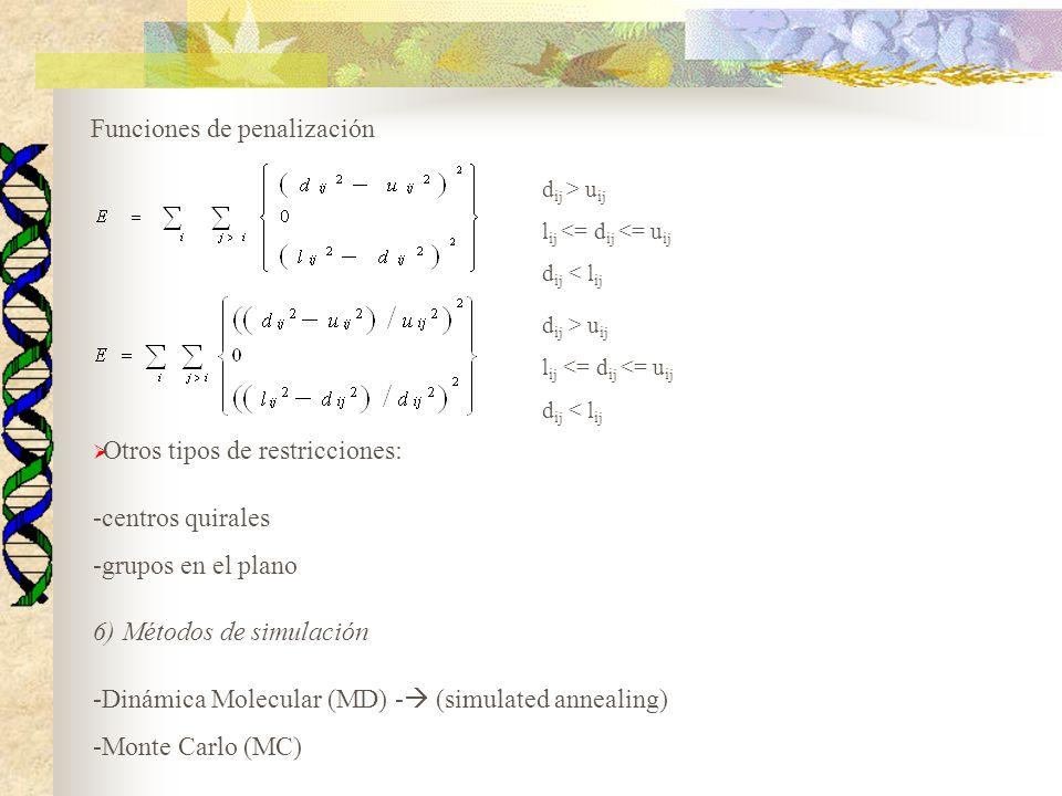 Funciones de penalización d ij > u ij l ij <= d ij <= u ij d ij < l ij d ij > u ij l ij <= d ij <= u ij d ij < l ij Otros tipos de restricciones: -cen