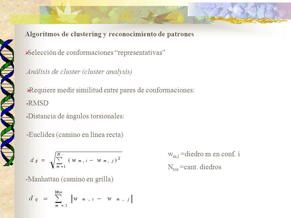 Algoritmos de clustering y reconocimiento de patrones Selección de conformaciones representativas Análisis de cluster (cluster analysis) Requiere medi