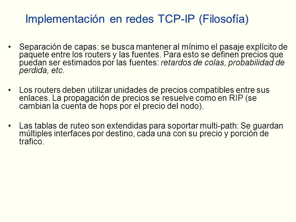 Implementación en redes TCP-IP (Filosofía) Separación de capas: se busca mantener al mínimo el pasaje explícito de paquete entre los routers y las fuentes.