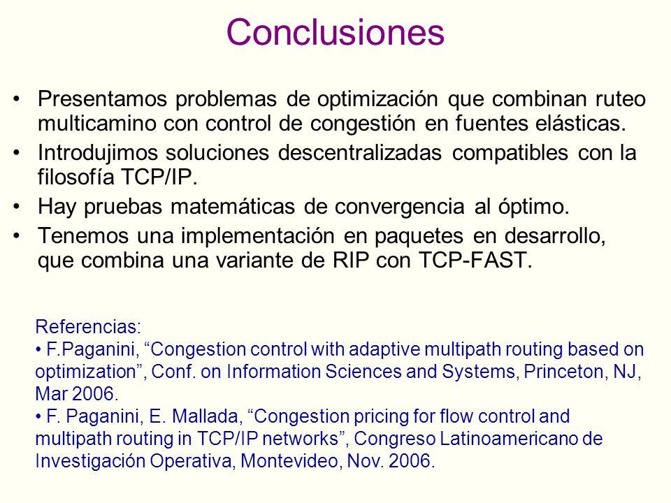 Conclusiones Presentamos problemas de optimización que combinan ruteo multicamino con control de congestión en fuentes elásticas.