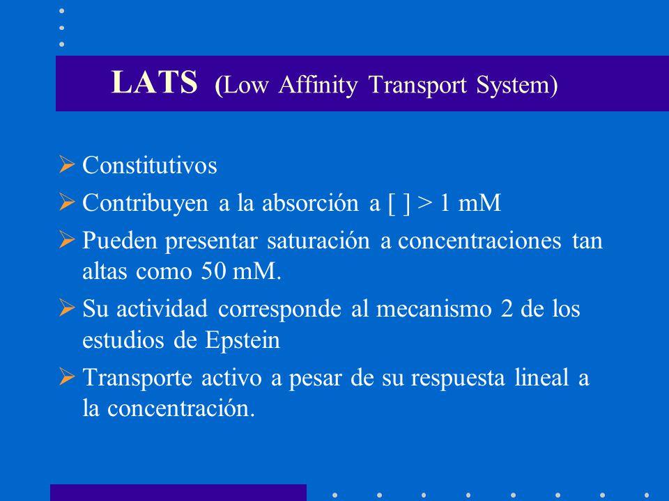 LATS (Low Affinity Transport System) Constitutivos Contribuyen a la absorción a [ ] > 1 mM Pueden presentar saturación a concentraciones tan altas com