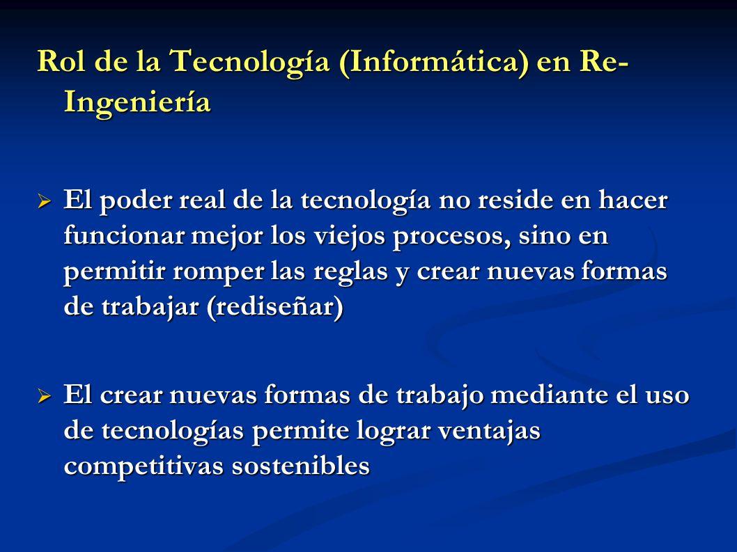 Rol de la Tecnología (Informática) en Re- Ingeniería El poder real de la tecnología no reside en hacer funcionar mejor los viejos procesos, sino en pe