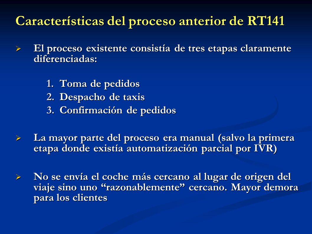 Características del proceso anterior de RT141 El proceso existente consistía de tres etapas claramente diferenciadas: El proceso existente consistía d