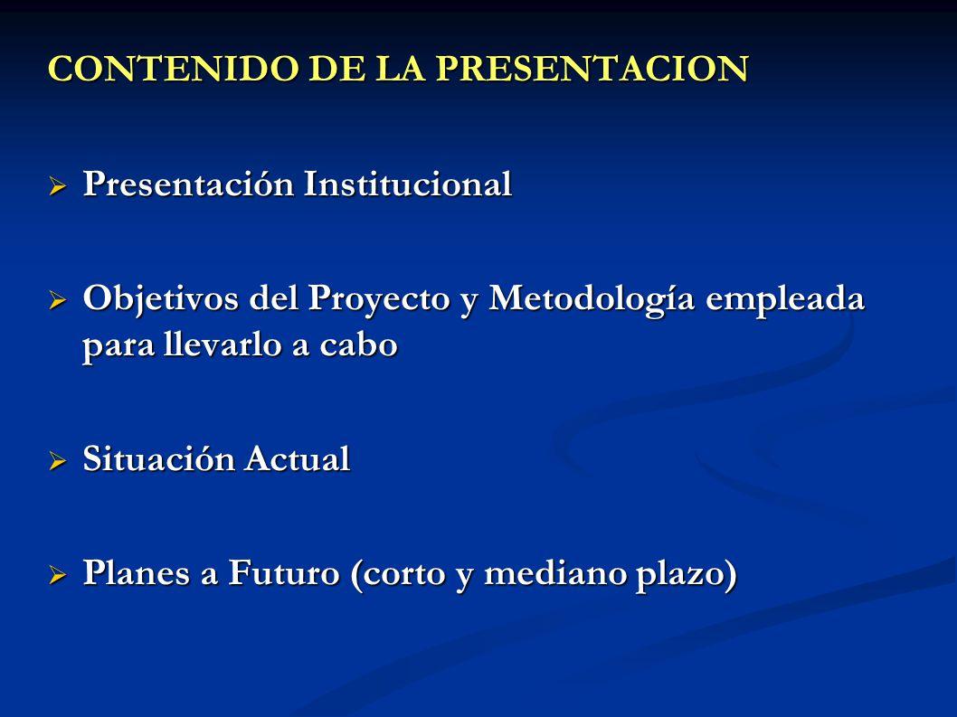 CONTENIDO DE LA PRESENTACION Presentación Institucional Presentación Institucional Objetivos del Proyecto y Metodología empleada para llevarlo a cabo