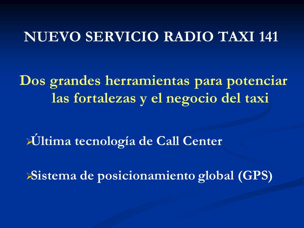 NUEVO SERVICIO RADIO TAXI 141 Dos grandes herramientas para potenciar las fortalezas y el negocio del taxi Última tecnología de Call Center Sistema de