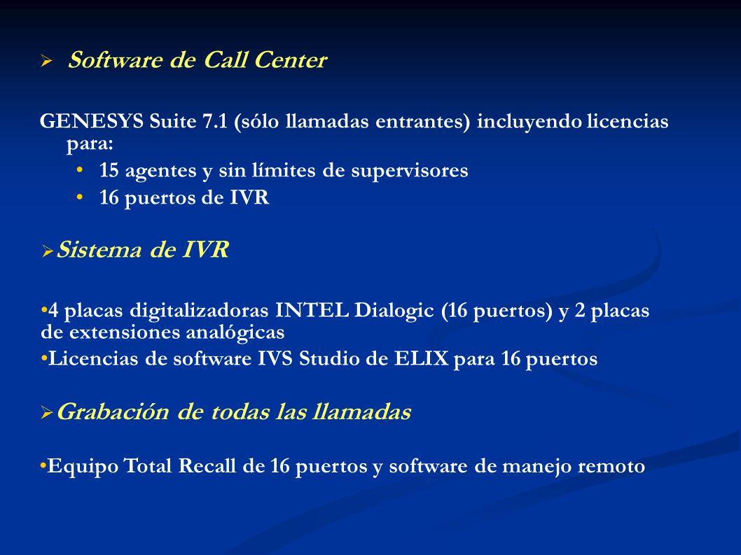 Software de Call Center GENESYS Suite 7.1 (sólo llamadas entrantes) incluyendo licencias para: 15 agentes y sin límites de supervisores 16 puertos de