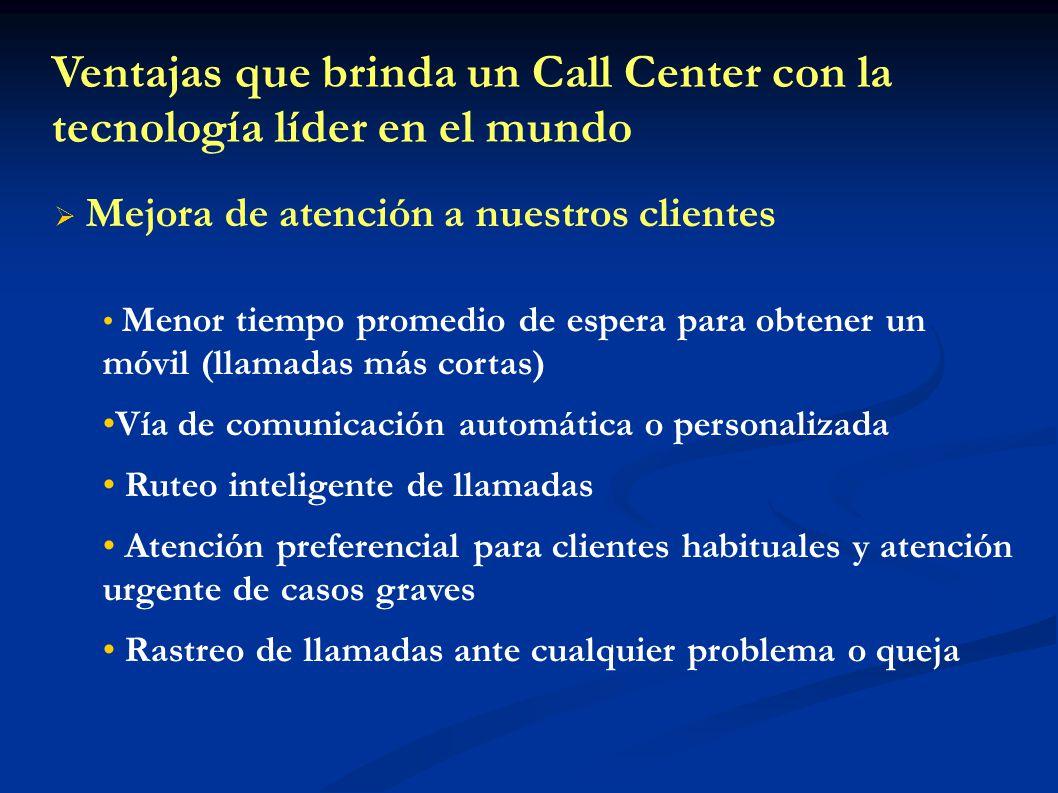 Ventajas que brinda un Call Center con la tecnología líder en el mundo Mejora de atención a nuestros clientes Menor tiempo promedio de espera para obt