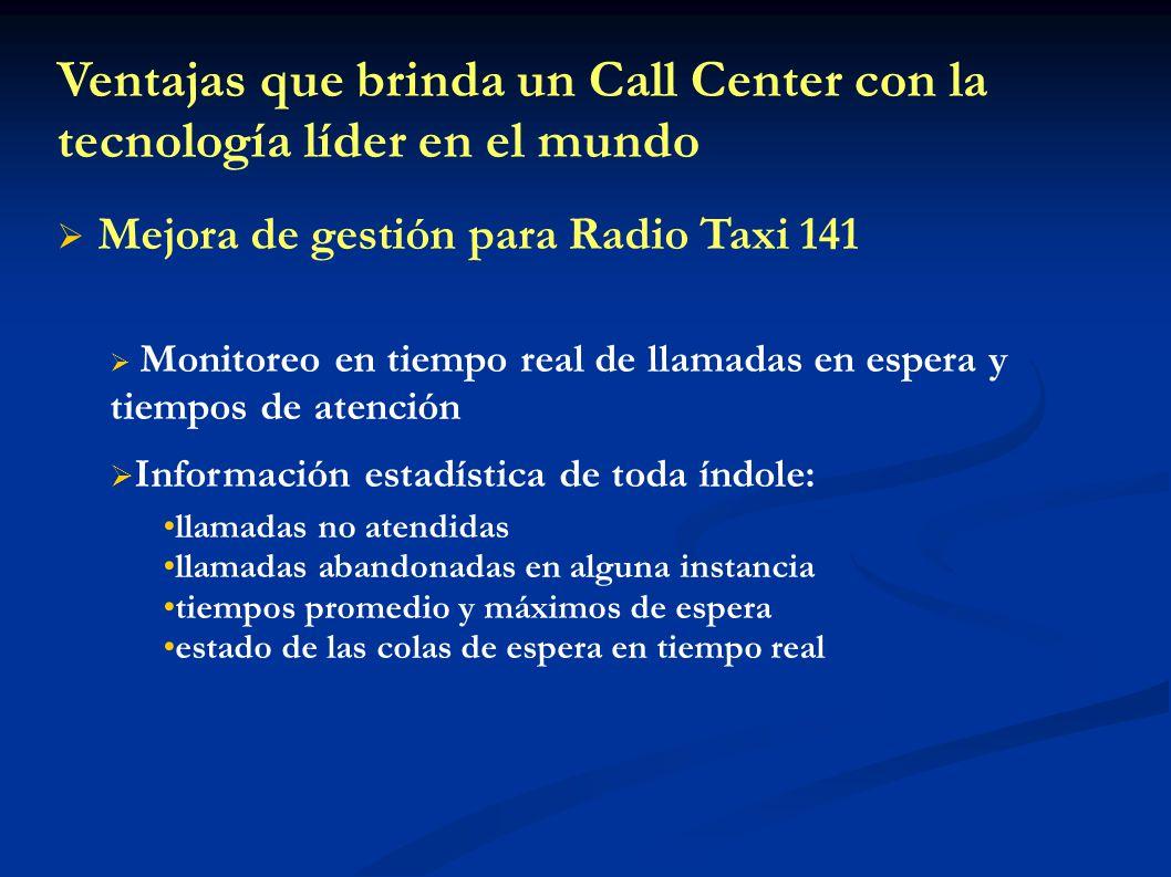 Mejora de gestión para Radio Taxi 141 Monitoreo en tiempo real de llamadas en espera y tiempos de atención Información estadística de toda índole: lla