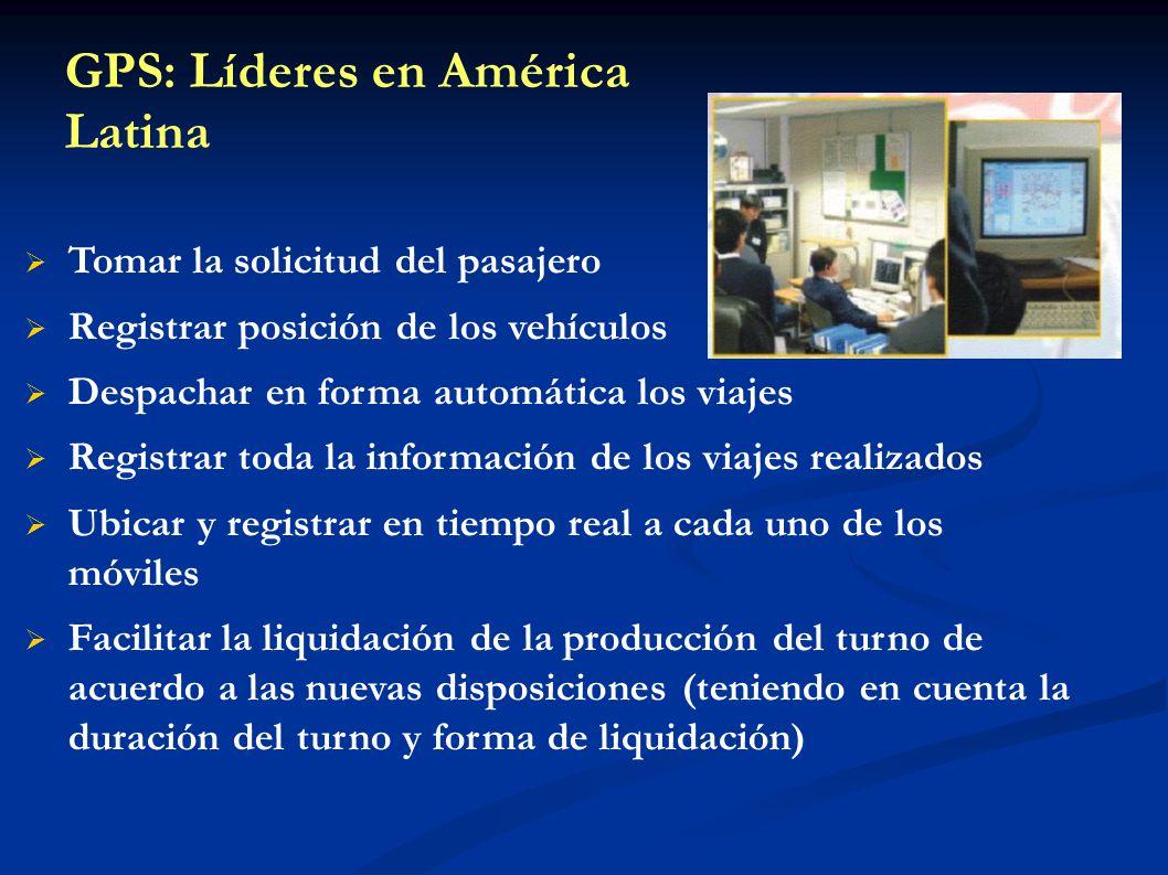 GPS: Líderes en América Latina Tomar la solicitud del pasajero Registrar posición de los vehículos Despachar en forma automática los viajes Registrar
