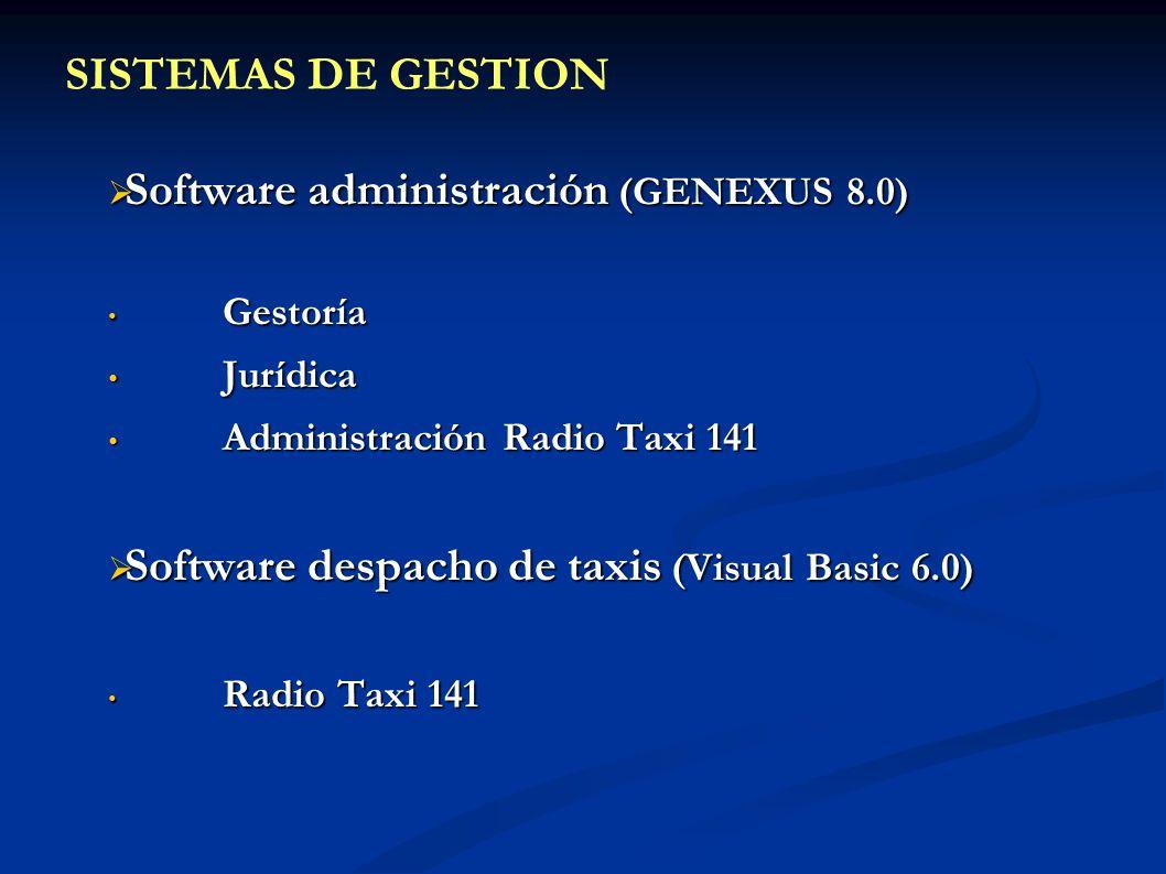 Software administración (GENEXUS 8.0) Software administración (GENEXUS 8.0) Gestoría Gestoría Jurídica Jurídica Administración Radio Taxi 141 Administ