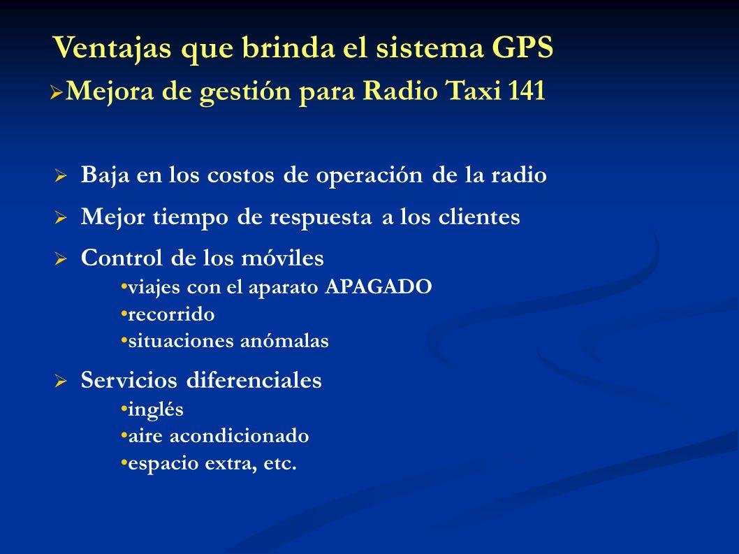 Baja en los costos de operación de la radio Mejor tiempo de respuesta a los clientes Control de los móviles viajes con el aparato APAGADO recorrido si