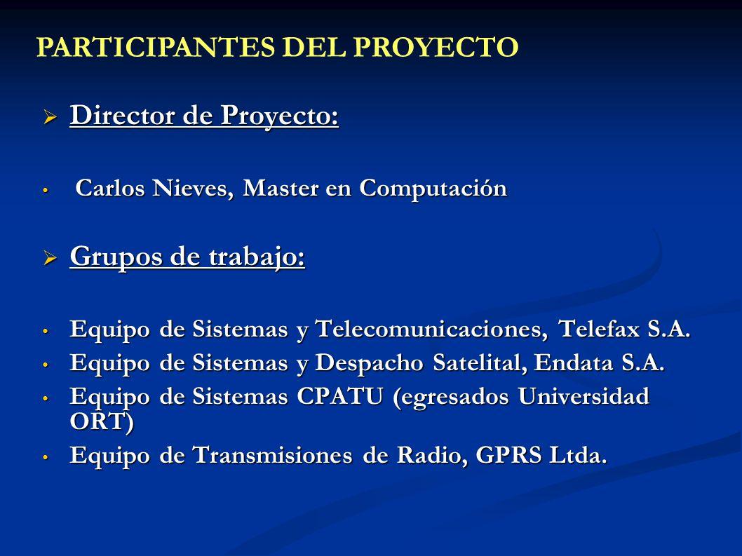 Director de Proyecto: Director de Proyecto: Carlos Nieves, Master en Computación Carlos Nieves, Master en Computación Grupos de trabajo: Grupos de tra