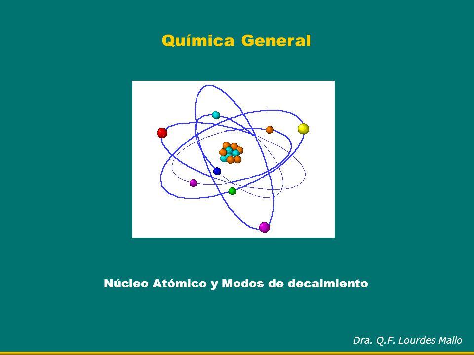 Núcleo Atómico y Modos de decaimiento Dra. Q.F. Lourdes Mallo Química General