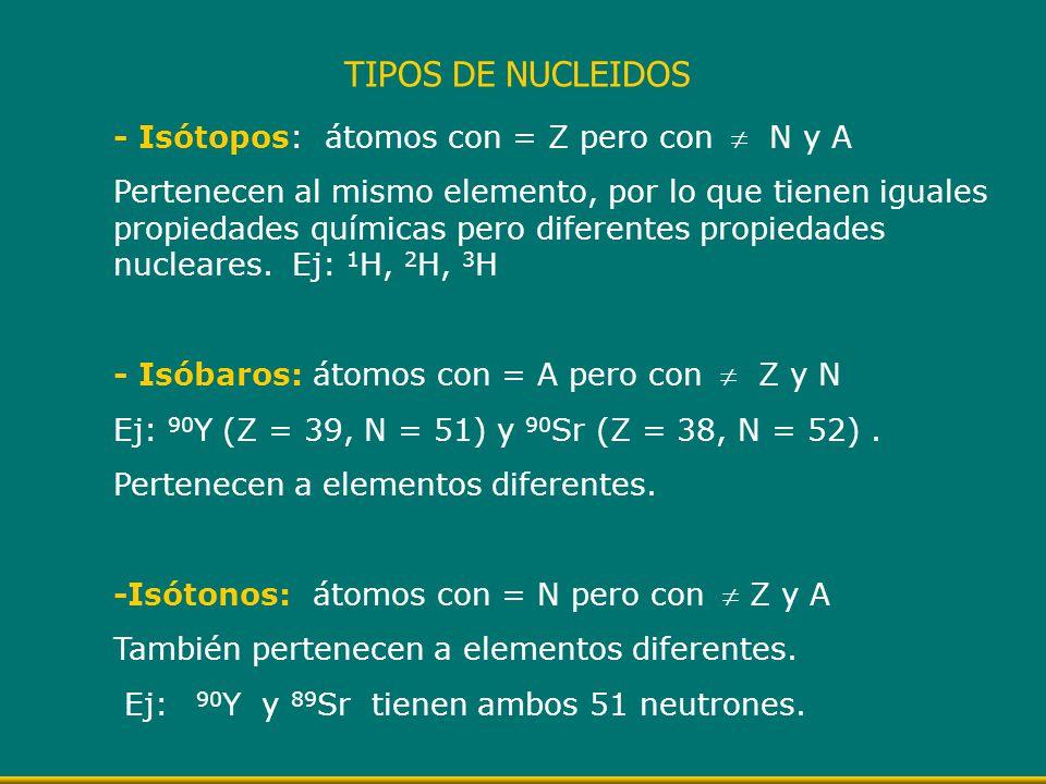- Isótopos: átomos con = Z pero con N y A Pertenecen al mismo elemento, por lo que tienen iguales propiedades químicas pero diferentes propiedades nuc