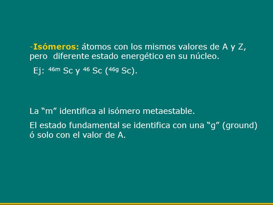 -Isómeros: átomos con los mismos valores de A y Z, pero diferente estado energético en su núcleo. Ej: 46m Sc y 46 Sc ( 46g Sc). La m identifica al isó
