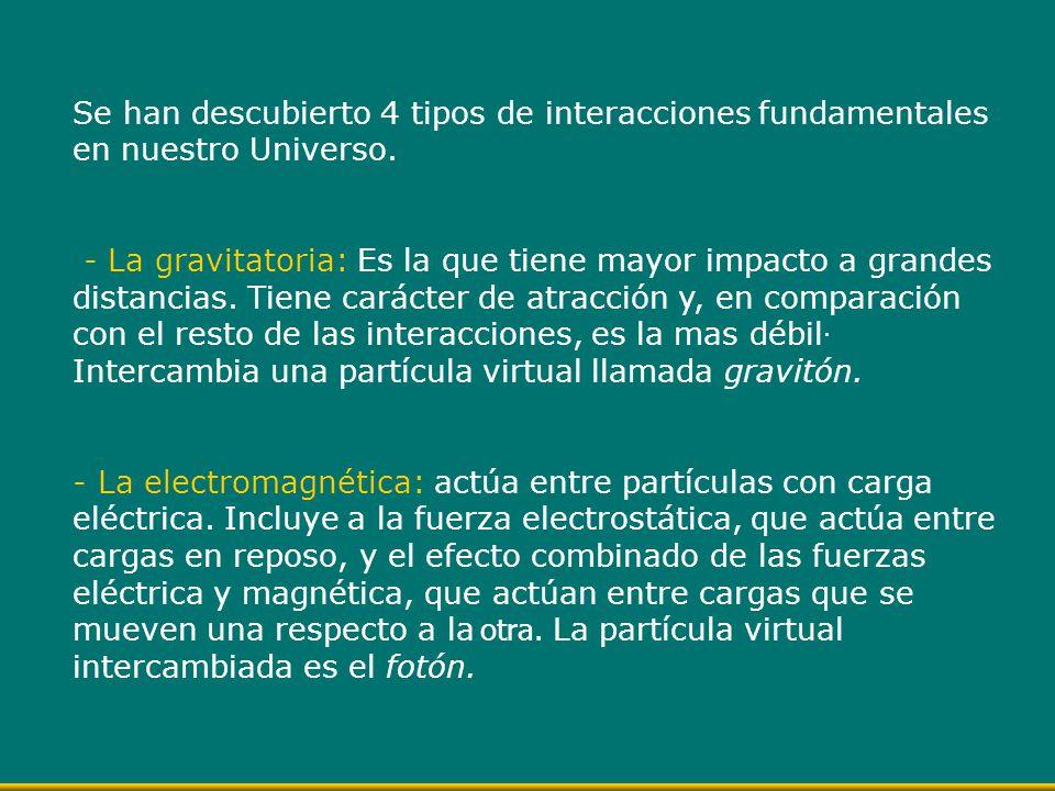 Se han descubierto 4 tipos de interacciones fundamentales en nuestro Universo. - La gravitatoria: Es la que tiene mayor impacto a grandes distancias.