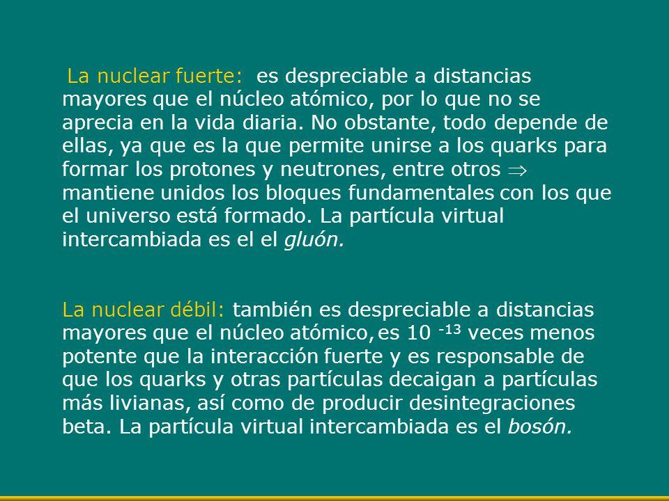 La nuclear fuerte: es despreciable a distancias mayores que el núcleo atómico, por lo que no se aprecia en la vida diaria. No obstante, todo depende d