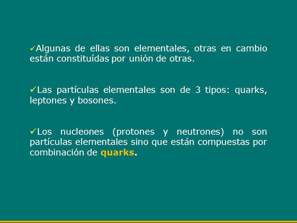 Algunas de ellas son elementales, otras en cambio están constituídas por unión de otras. Las partículas elementales son de 3 tipos: quarks, leptones y