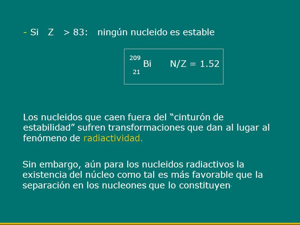 - Si Z > 83: ningún nucleido es estable Bi N/Z = 1.52 209 21 Los nucleidos que caen fuera del cinturón de estabilidad sufren transformaciones que dan