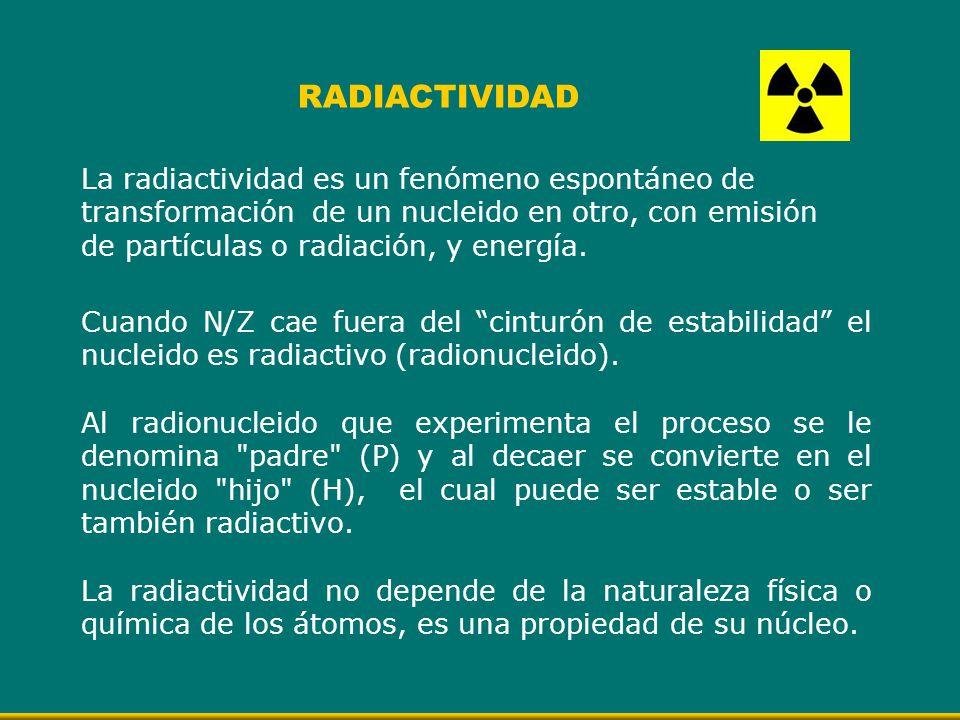 La radiactividad es un fenómeno espontáneo de transformación de un nucleido en otro, con emisión de partículas o radiación, y energía. RADIACTIVIDAD C