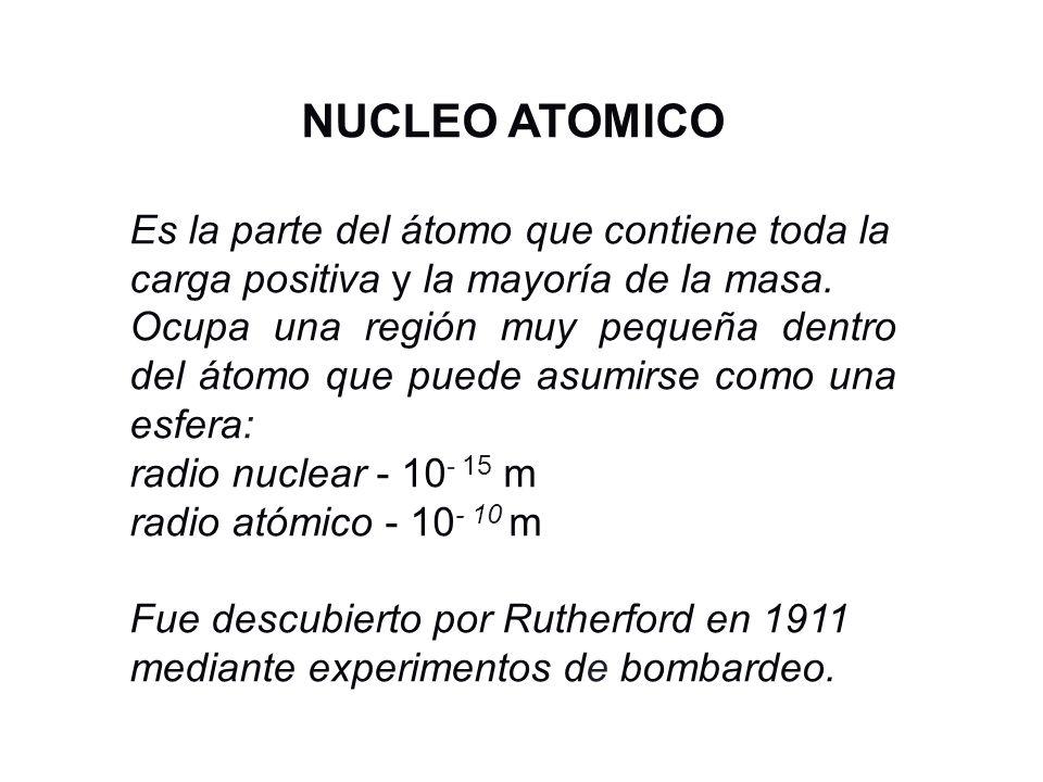 NUCLEO ATOMICO Es la parte del átomo que contiene toda la carga positiva y la mayoría de la masa. Ocupa una región muy pequeña dentro del átomo que pu